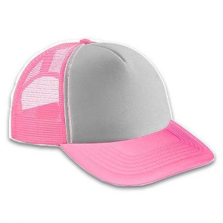 Gorra Trucker Adulto Rosa - Frente Blanco